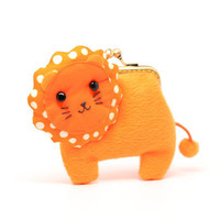 Little orange lion clutch purse by misala on Etsy