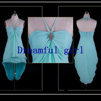 halter high-low style light blue style chiffon with beading lovely girl dress for party or evening party