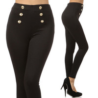 Black Button Sailor Pants