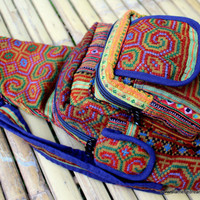 Colorful Tribal Backpack One Shoulder Man Bag Hmong Embroidery and Indigo Batik