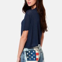 Laundry Room American Flag Studded Distressed Cutoffs