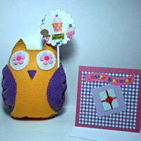 Felt Owl with Cake Topper Birthday Set