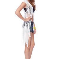 Crochet Short Sleeve Cardigan in White :: tobi