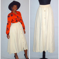 Vintage 1980s Flowy Cream Skirt