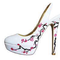Wedding Shoes Cherry Blossom includes pink by ThePaintedShoe