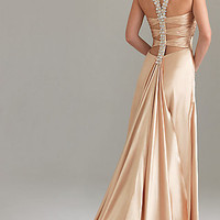 Long Halter Prom Dress by Night Moves 6428