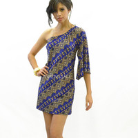 Chevelon Tribal One Shoulder Dress Cobalt Blue