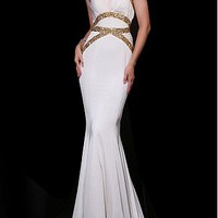 [136.99] Elegant White Chiffon Mermaid Halter Neckline Long Prom Dress With Beadings - Dressilyme.com