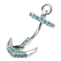 Cz Jeweled Anchor Belly Button Ring: Jewelry