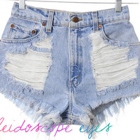 Vintage Levis Trashed Destroyed Denim HIGH WAIST Cut Off Shorts XS