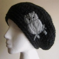 Slouchy Beanie Hat in Chunky Charcoal Yarn with Gray Owl Patch Applique