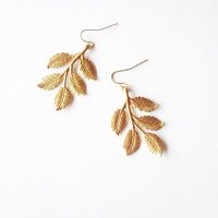 Bridal Leaf Earrings Gold Leaf Earrings Woodland Earrings Forest Earrings Rustic Woodland Wedding Jewelry Elegant Romantic Whimsical Dreamy