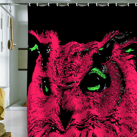 Romi Vega Pink Owl Shower Curtain From Deny Designs