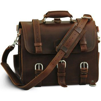 Saddleback Leather Co. Medium Classic Briefcase in Chestnut: Full-Grain Leather with 100 Year Warranty