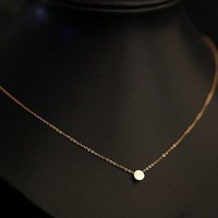 Mini round disc rose gold titanium necklace