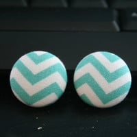Fabric Covered Chevron Stud Earrings