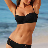 Black Hollow Steel Supporting Bikini Swimsuit