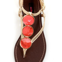 Dollhouse Island Gold and Orange Stone Embellished Thong Sandals
