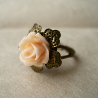 Peach Rose Adjustable Brass Ring by PiggleAndPop