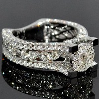 Vintage Inspried Engagement Ring 2.65ctw Diamond 14K White Gold Round Solitaire