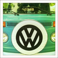 Teal Green VW Volkswagon Love Bus 5x5 Retro Square by artstudio54