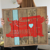 Typewriter Heart Reclaimed Wood Painting 15 OFF TODAY by MissMacie