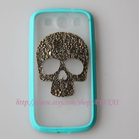 Samsung Galaxy S3 case,phone cover,flower skull blue-green color frosted translucent Samsung Galaxy S3 case