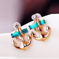 FANCY BEAUTY — Fashion Rhinestone Anchor Earrings