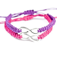 Infinity Friendship Bracelets Purple and Fuchsia