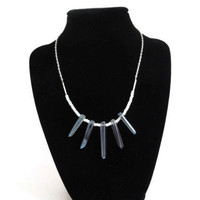 Steel Blue Gray Quartz Point Necklace, Rare Stone, Aurora Borealis