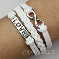 Silvery Love Bracelet Infinity Karma Bracelet Wish Bracelet Bangle Cuff Bracelet Gift -N1035
