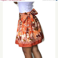 ON SALE Tangerine Orange Mini Skirt with Sash - Traditional Borneo Fabric