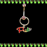 Gay Pride Charm on Door Knocker Belly Ring with Purple Rhinestones on Surgical Stainless Steel Barbell