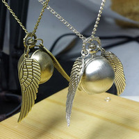 2pcs  Enchanted Golden Snitch WATCH necklace with by qizhouhuang