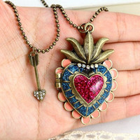 vintage style antique bronze colorful love heart by qizhouhuang