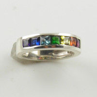 Rainbow Gemstone Sterling Silver Ring