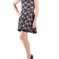 Sleeveless Lace Overlay Skater Dress: Dots.com