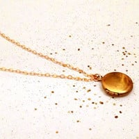 arcanum - tiny gold locket necklace by lilla stjarna - gifts under 50 - simple necklace, vintage locket, gold dainty necklace, everyday wear