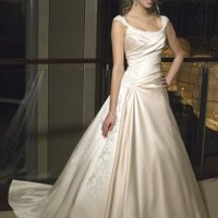 A-line Cap Sleeve Scoop Neck Satin Wedding Dresses [MZ0508] - $249.00 : Cheap Wedding Gowns, Discount Bridal Gowns, China Wedding Dresses - China&#x27;s Second Largest Wedding Online Store.