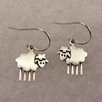 Lamb earrings by StickManJewelry on Etsy