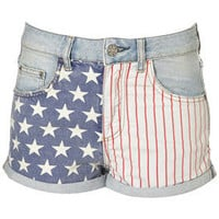 MOTO Bleach Flag Print Hotpant - Denim Shorts - Shorts - Clothing - Topshop