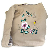 Hobo Bag with Red and White Flowers And A Bee