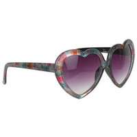 Floral Print Heart Frame Sunglasses