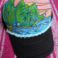 Ocean waves Hand Painted Trucker hat - YOUTH - comes with bag