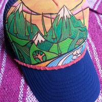 Ocean waves Hand Painted Trucker hat - ADULT- comes with bag