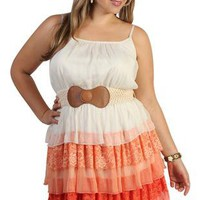 plus size triple tiered mixed media day dress - debshops.com
