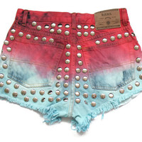 50% SALE Dip dye high waisted denim shorts S