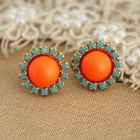 Stud earring Neon orange and Turquoise  - 14 k plated gold post earrings real swarovski pearls.