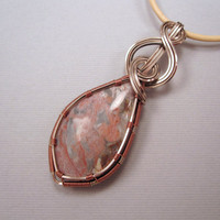 Wire Wrapped Jasper Pendant and Natural Leather by UptightWanda