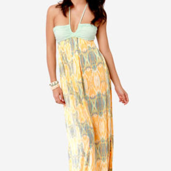 O'Neill Nyla Mint and Orange Print Maxi Dress